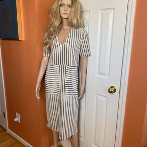 Zara dress vertical stripe dress black & beige NWT